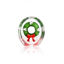 Mats Jonasson Crystal - CHRISTMAS by Robert Ljubez - Festive Green and Red Wreath - 34239