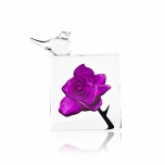Mats Jonasson Crystal - FLORAL FANTASY Blackbird - purple Rose by Lina Lundberg - 34098