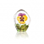Mats Jonasson Crystal - FLORAL FANTASY Pensée yellow and purple - 34217