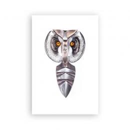 Mats Jonasson IRON & CRYSTAL - LIMITED EDITION Wall Sculpture 'Strix III' - Owl -68154