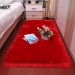Soft-Fluffy long pile Faux Fur carpet for pet-Suede Fabric bottom-Bedside decorative carpet-red 50 x 80 cm