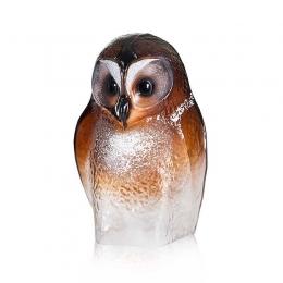 Mats Jonasson Crystal - Safari Sculptures - Owl painted crystal - 34245