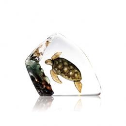 Mats Jonasson Crystal - WILDLIFE PAINTED - Sea turtle - 33943