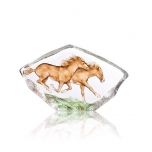 Mats Jonasson Crystal - WILDLIFE PAINTED - Horses, large crystal sculpture - 34086