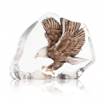 Mats Jonasson Crystal - WILDLIFE PAINTED - Northern Bald Eagle in flight - 34087