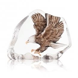 Mats Jonasson Crystal - WILDLIFE PAINTED - Northern Bald Eagle in flight - 34087