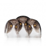 Mats Jonasson Crystal - WILDLIFE PAINTED - Parliament of Owls - 34107