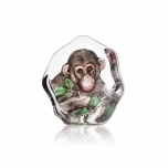Mats Jonasson Crystal - WILDLIFE PAINTED - Chimpanzee - 34202