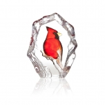 Mats Jonasson Crystal - WILDLIFE PAINTED - Cardinal Bird - 34264