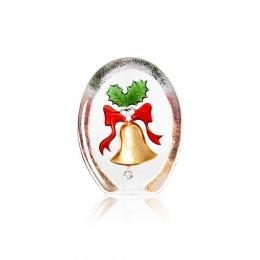 Mats Jonasson Crystal - CHRISTMAS by Robert Ljubez - Golden Bell and Prickly Mistletoe - 34240