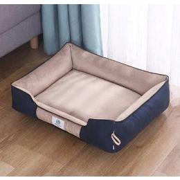 Pet Bed-Rectangular Cushion- Machine Washable-Improved Sleep for Pets-khaki-50x40x16 cm